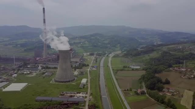 Industrial Pollution Aerial View : Stock Video