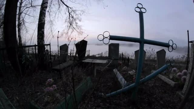 Scary Cemetery In The Fog: Stock Video