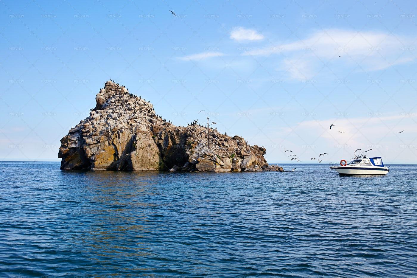 Cormorant Stone, Lake Baikal: Stock Photos
