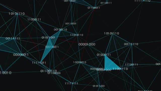 3D Binary Data Network: Stock Motion Graphics