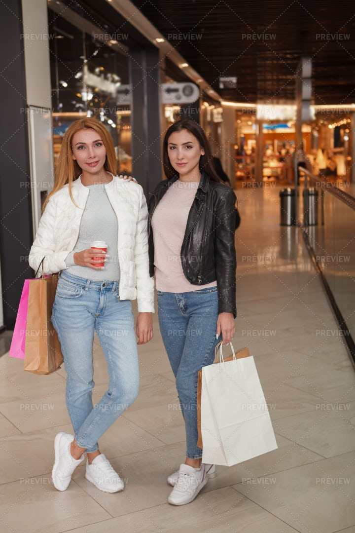 Happy Women Shopping: Stock Photos