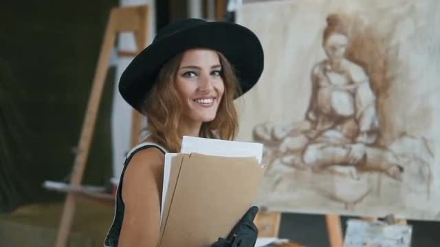 Portrait Of Artist Sitting Before Easel: Stock Video