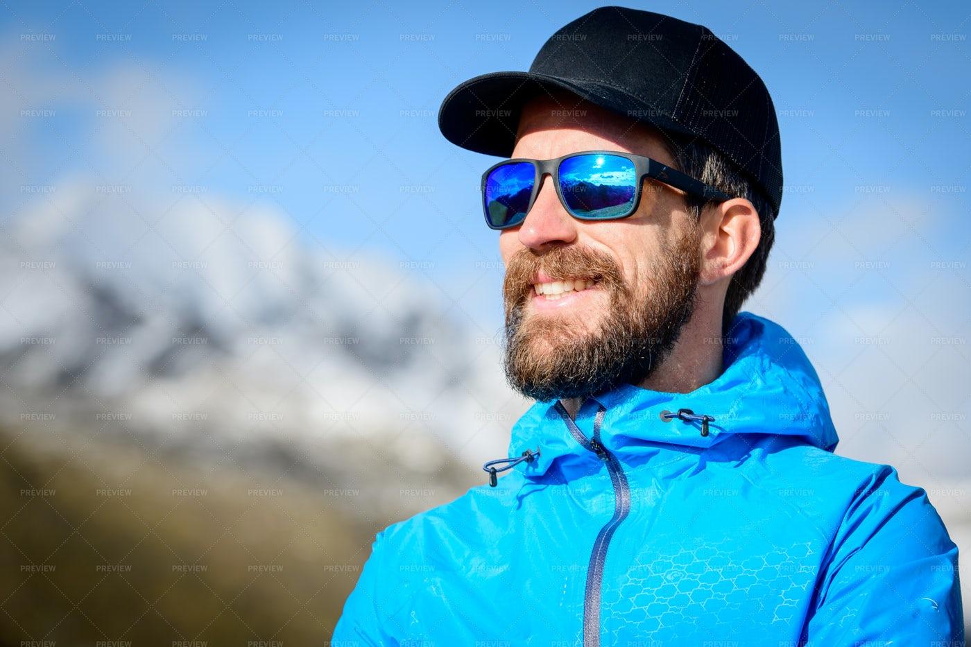 Sporty Bearded Man: Stock Photos