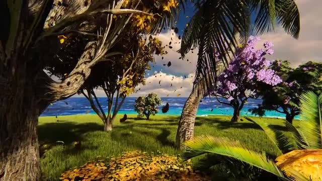 Green Beach And Blue Sky: Stock Motion Graphics