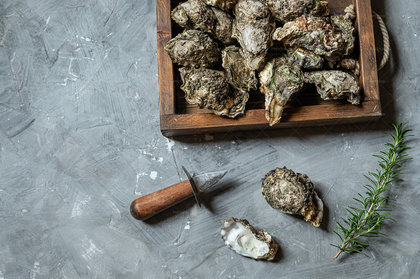 Oysters In Wooden Tray: Stock Photos