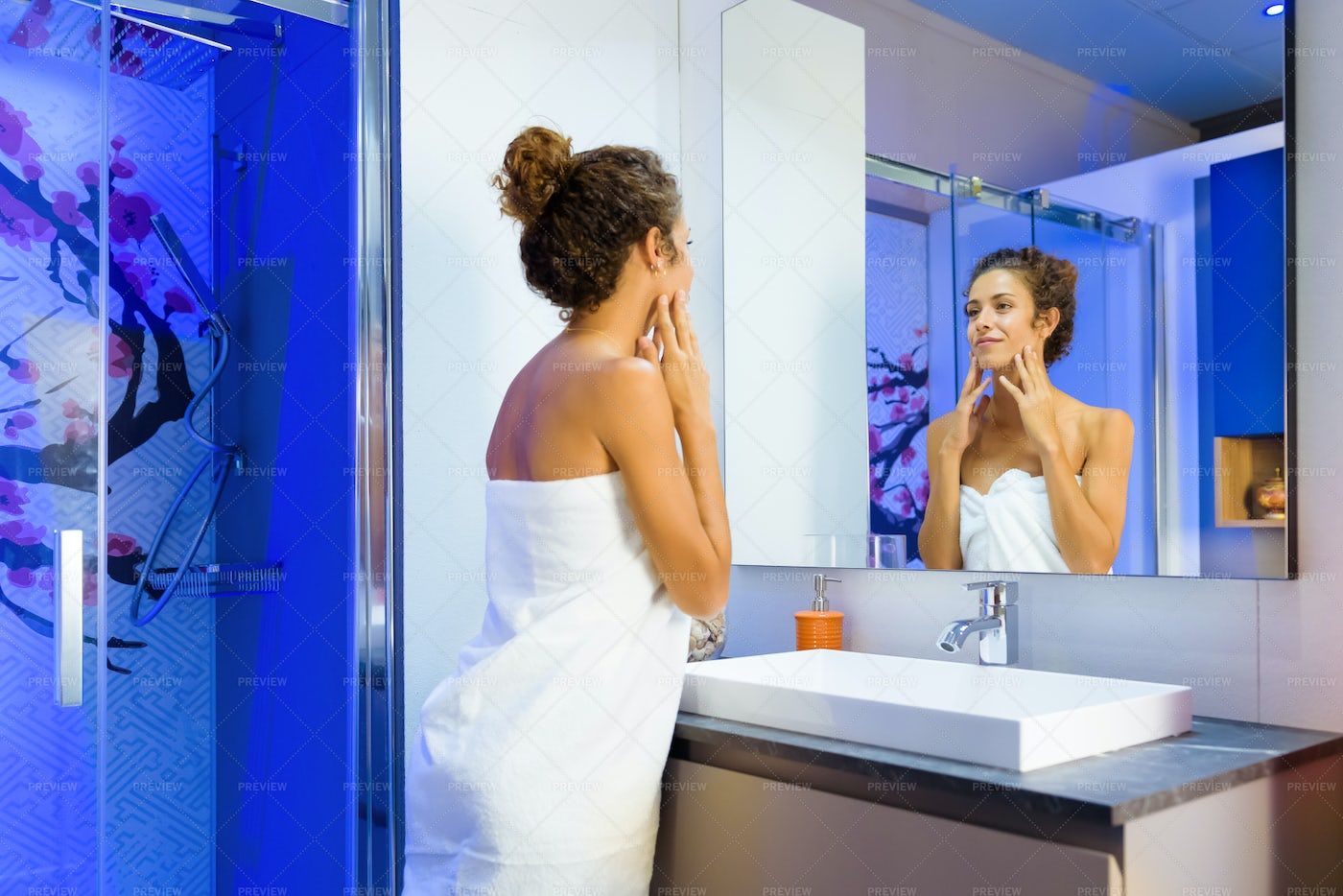 Woman Looking At Herself: Stock Photos