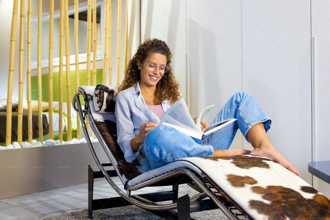 Happy Young Woman Relaxing: Stock Photos