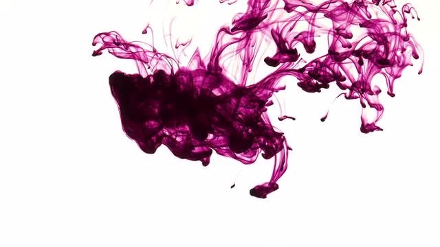 Purple Ink Spreading In Water: Stock Video