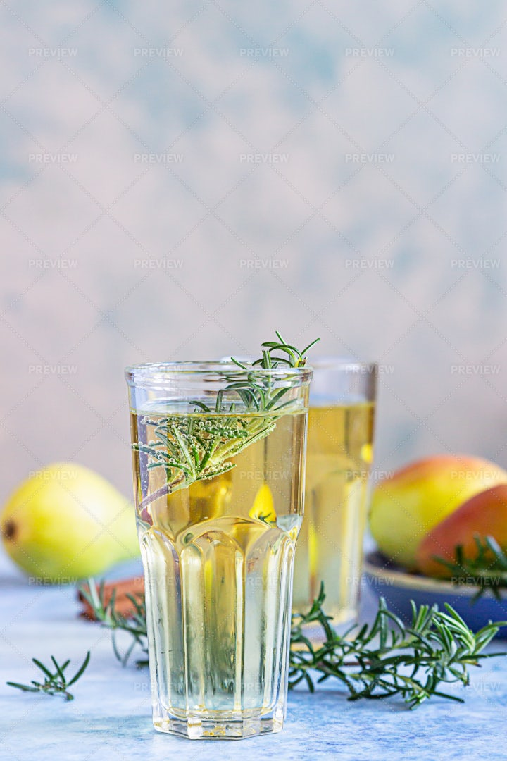 Pear Cider With Rosemary: Stock Photos