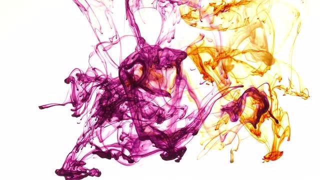 Purple And Orange Inks Blending: Stock Video