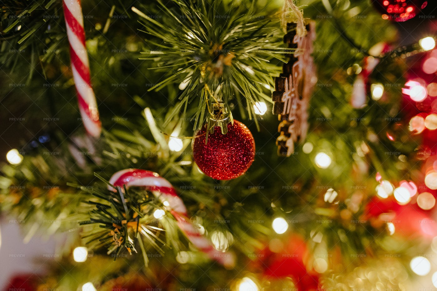 Bauble On Christmas Tree: Stock Photos