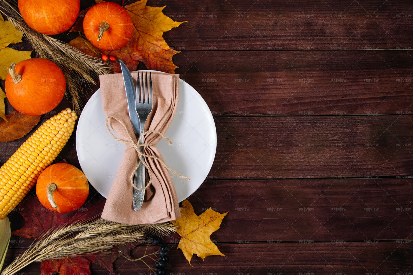 A Table Setting For Thanksgiving: Stock Photos