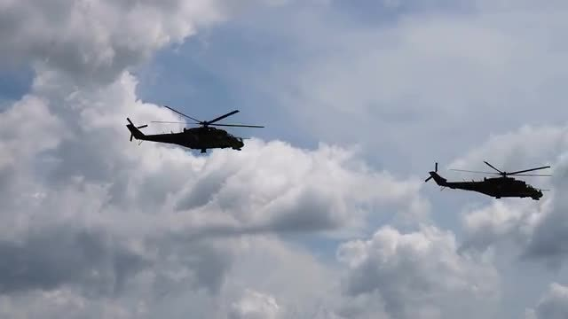 Black Military Helicopters Flying : Stock Video