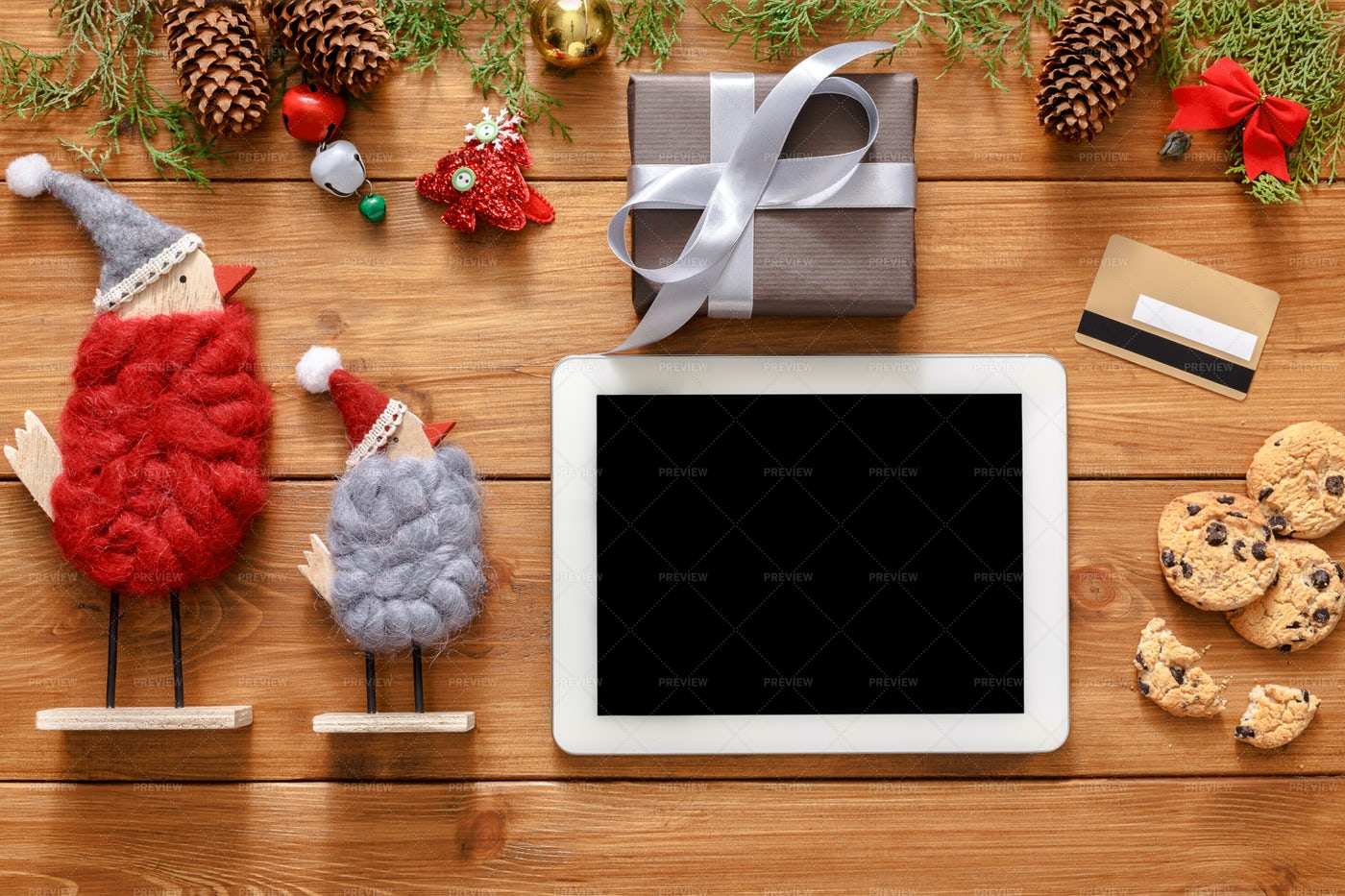 Tablet And Christmas Items: Stock Photos