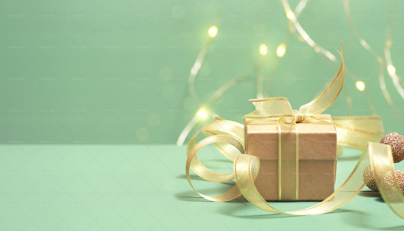Golden Gift Box: Stock Photos