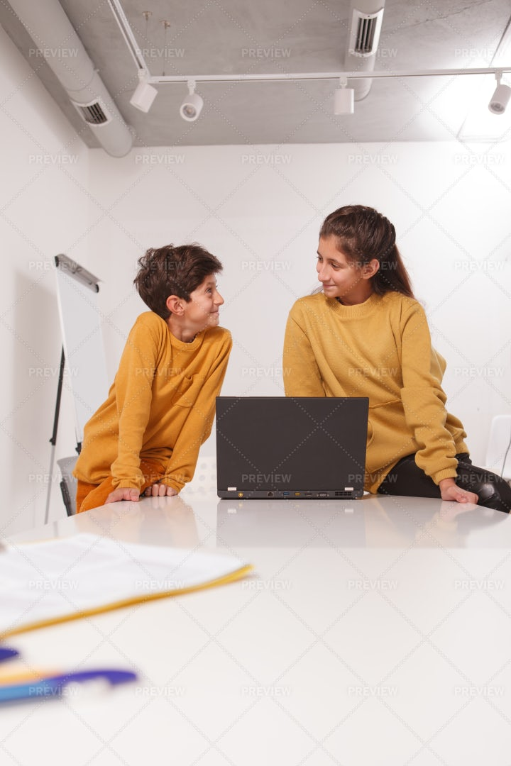Brother And Sister At School: Stock Photos