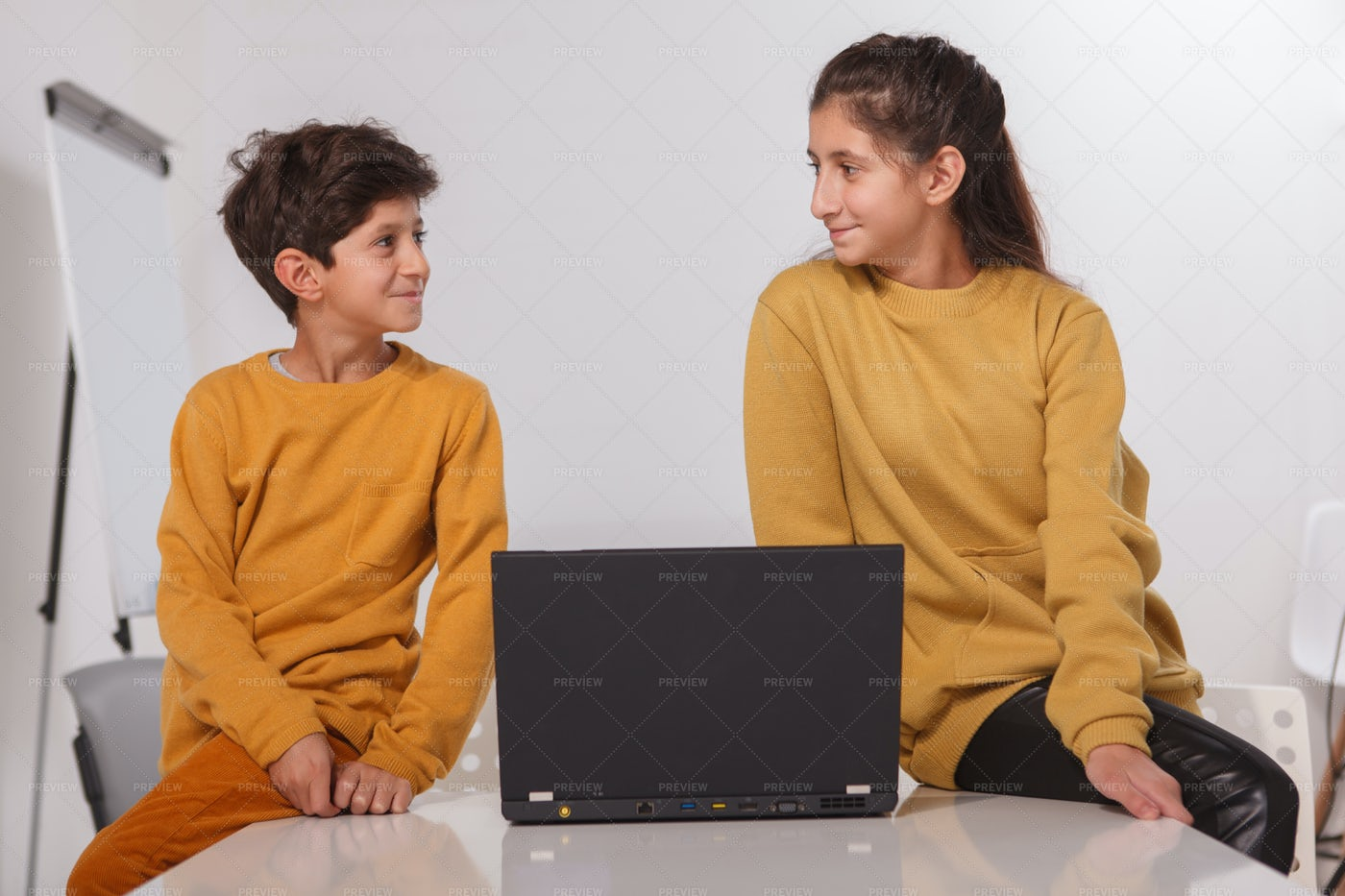 Brother And Sister Homeschooling: Stock Photos