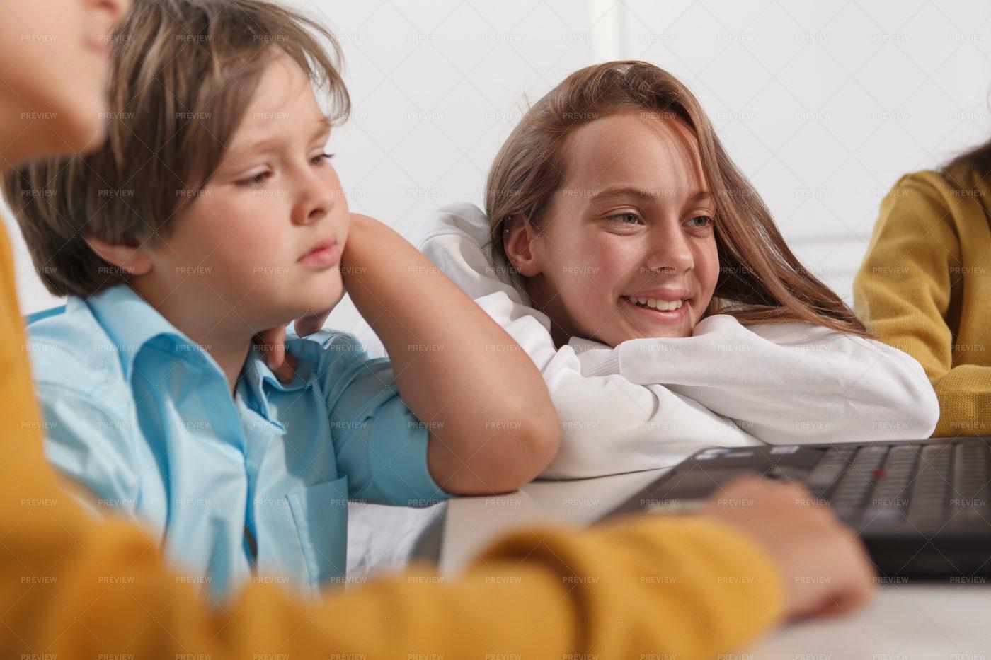 Cheerful Kids At School: Stock Photos