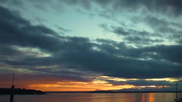 Seattle Sunset On The Puget Sound: Stock Video