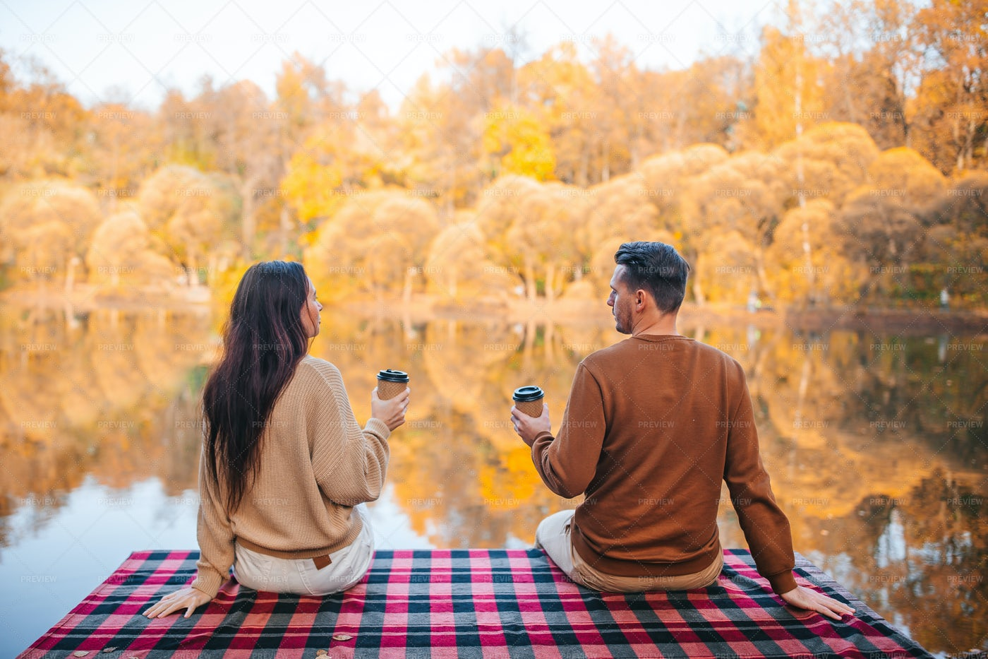 Couple In Autumn Day: Stock Photos