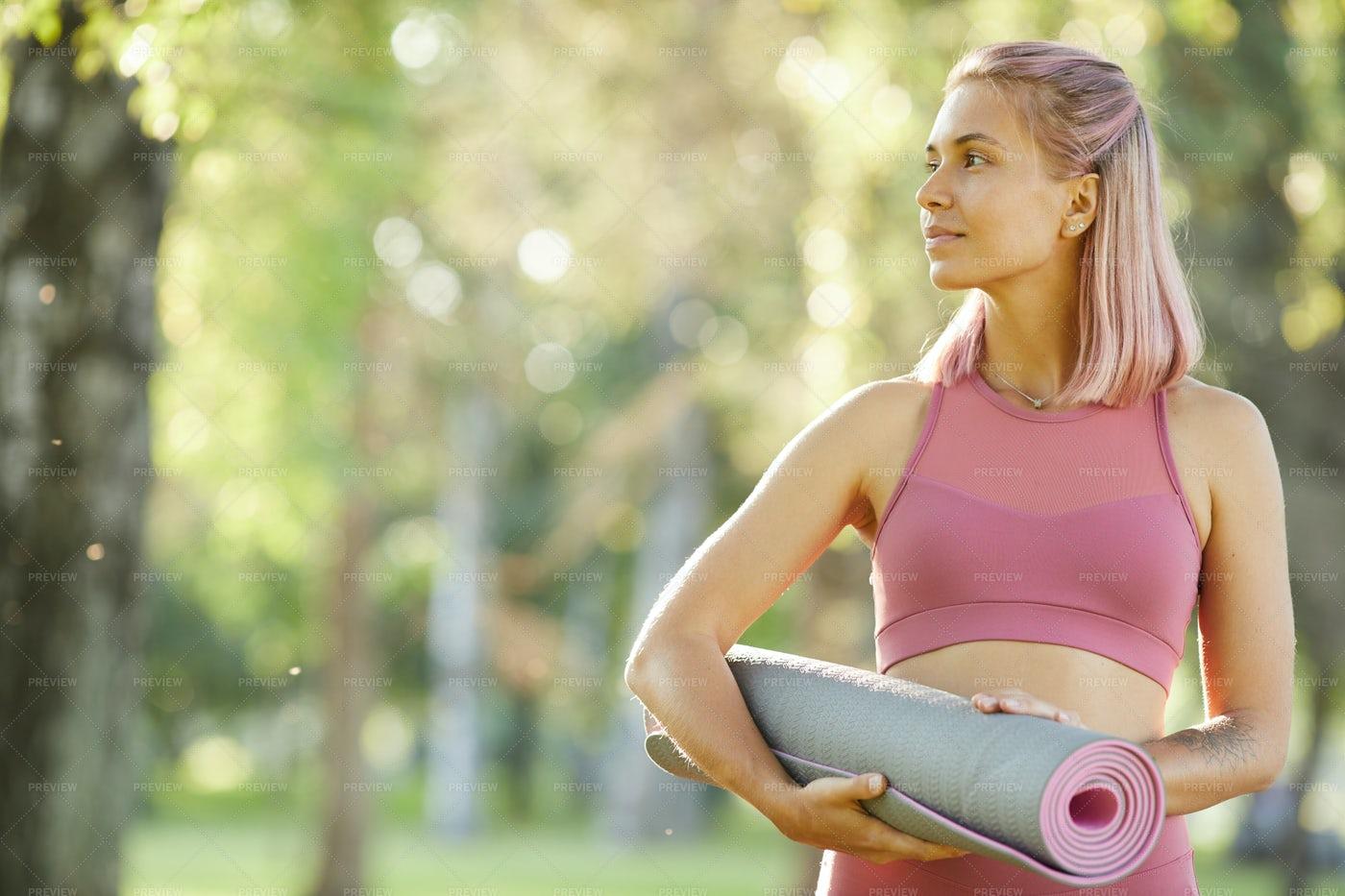 Woman With An Exercise Mat: Stock Photos