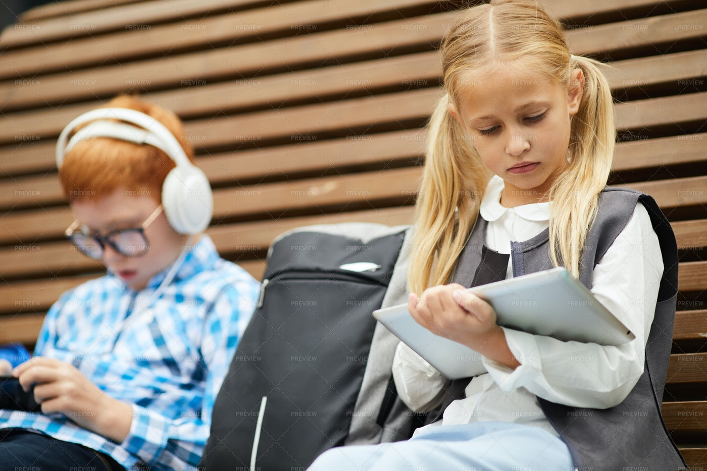 Schoolgirl Studying With Tablet PC: Stock Photos
