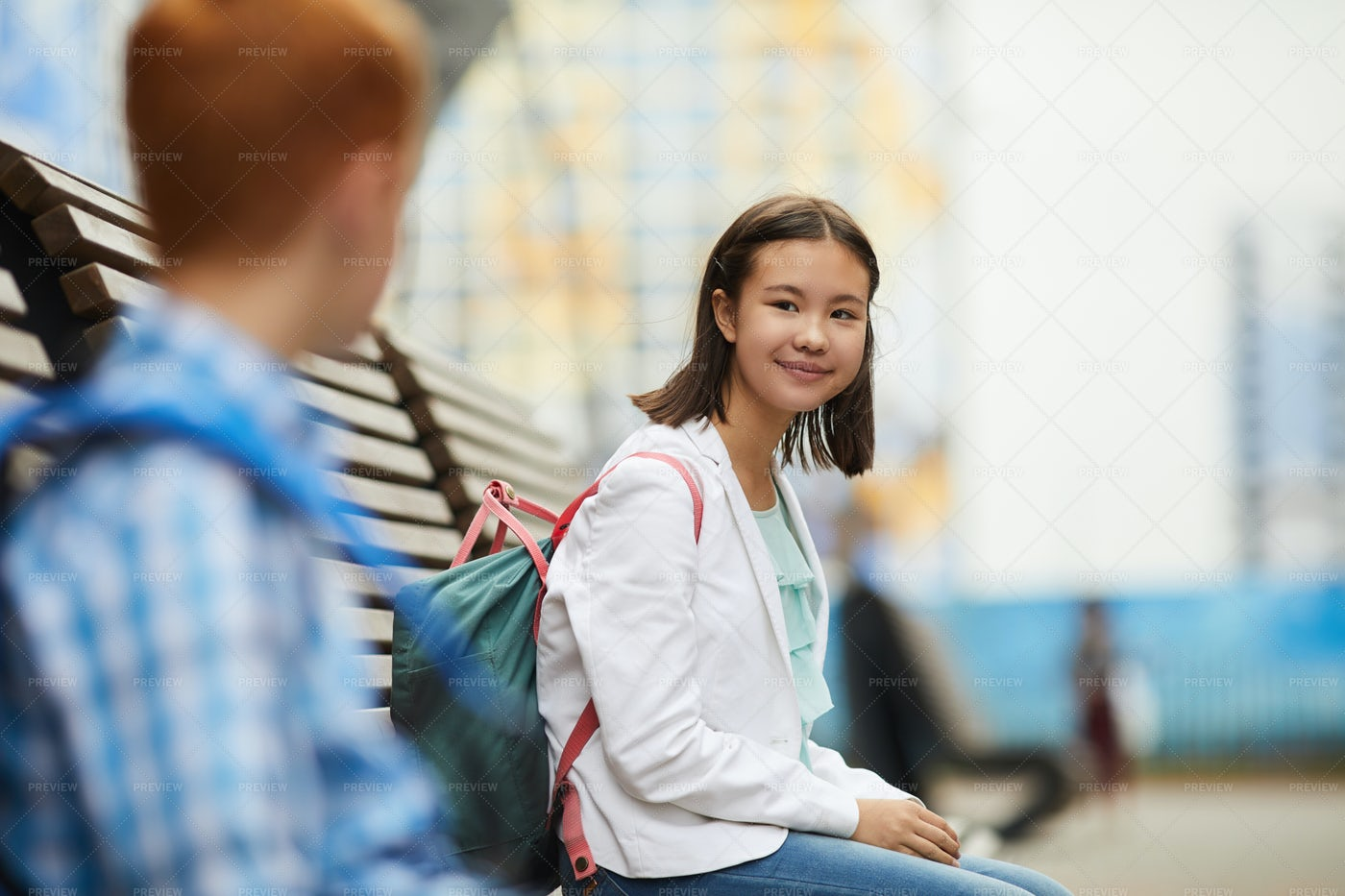 Classmate Talking During Break: Stock Photos