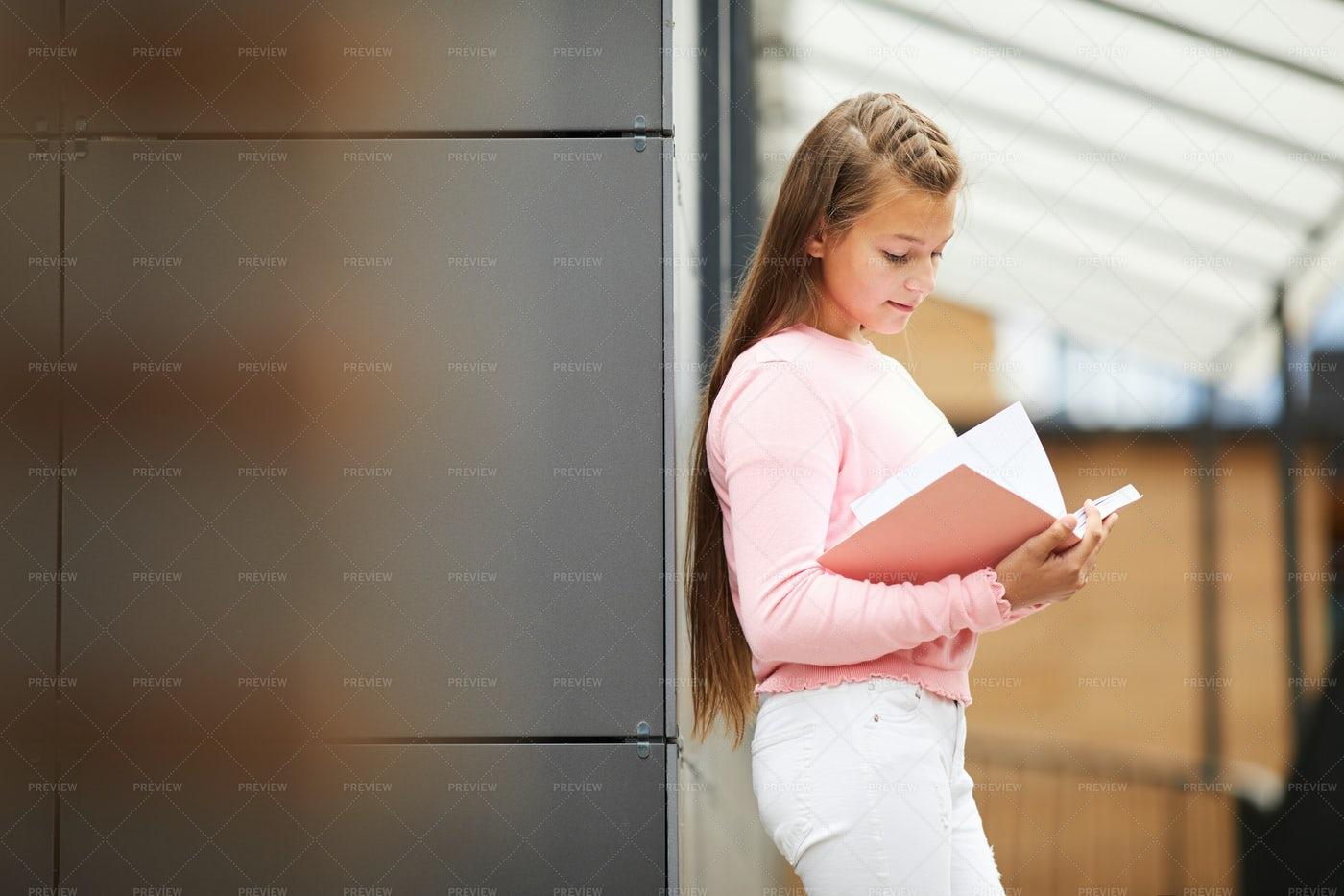 Schoolgirl Reading A Book: Stock Photos