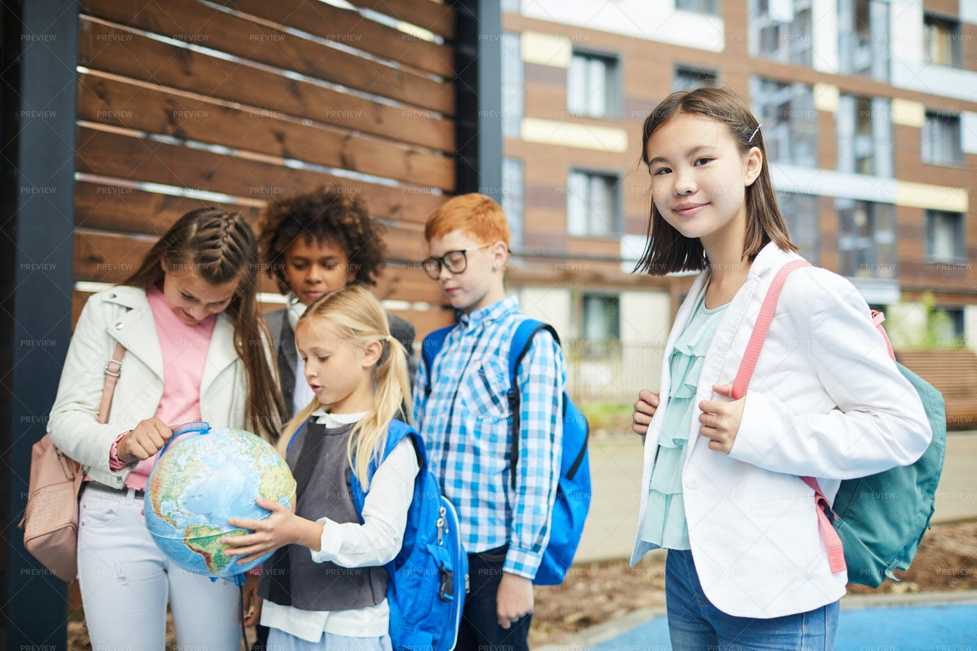 School Girls And Classmates: Stock Photos