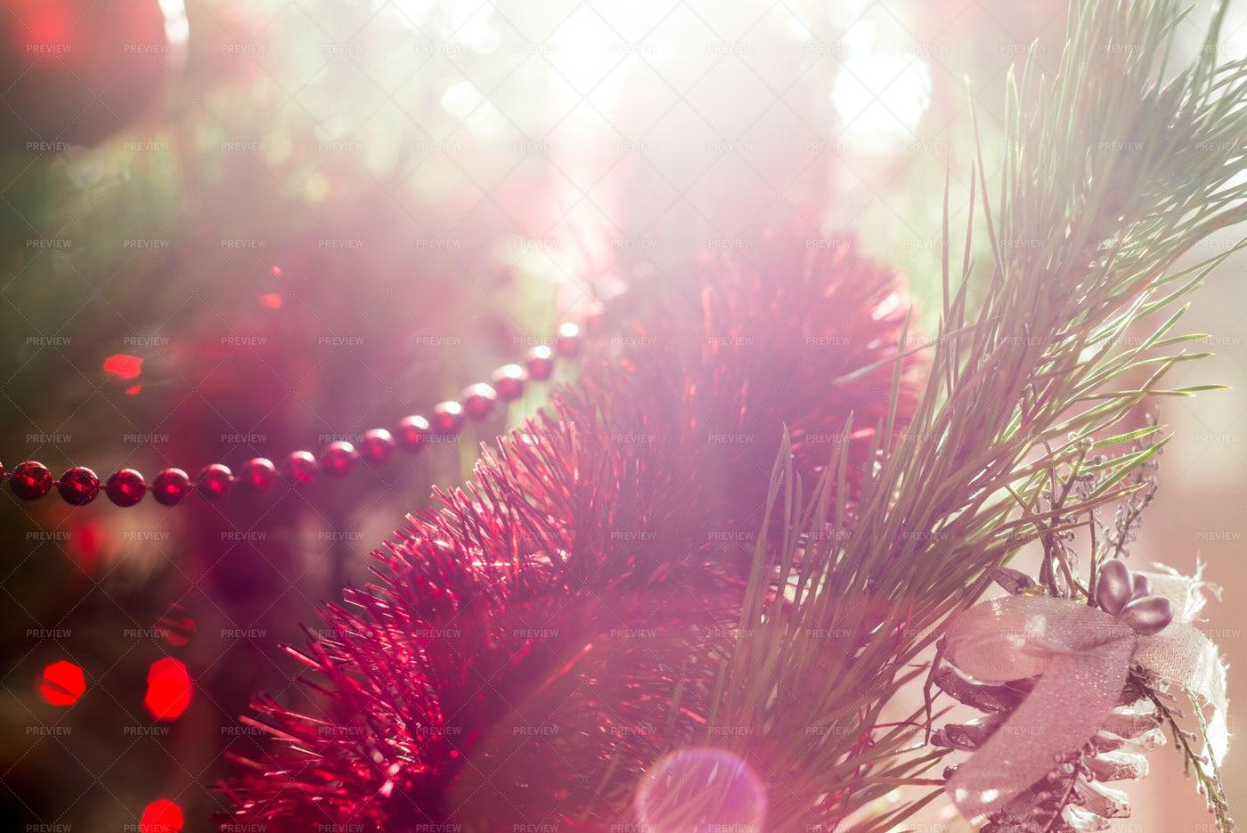 Sun Flare Christmas Tree: Stock Photos