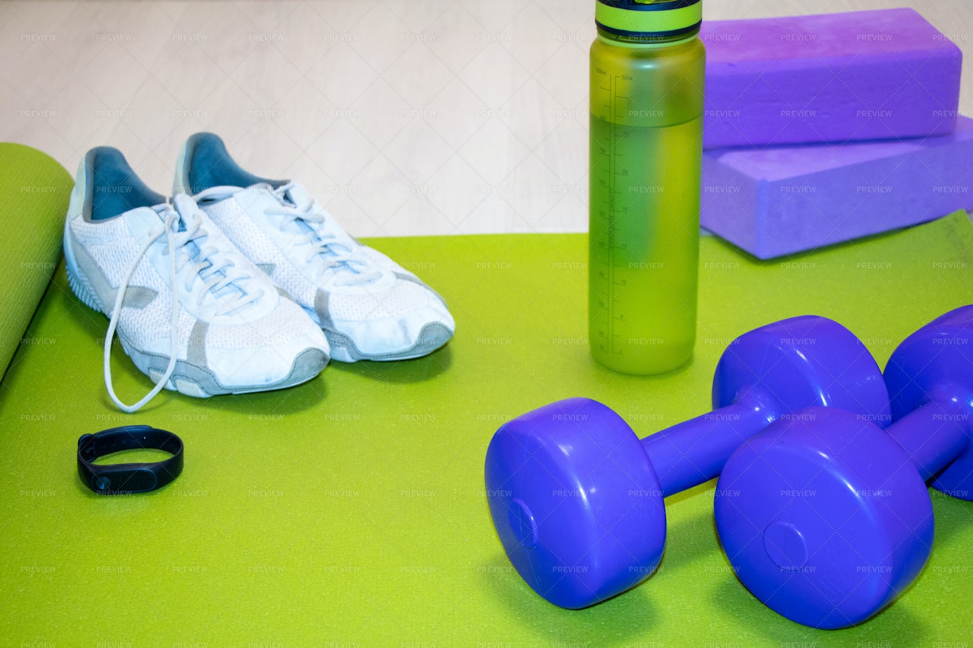 Fitness Items And Sneakers: Stock Photos