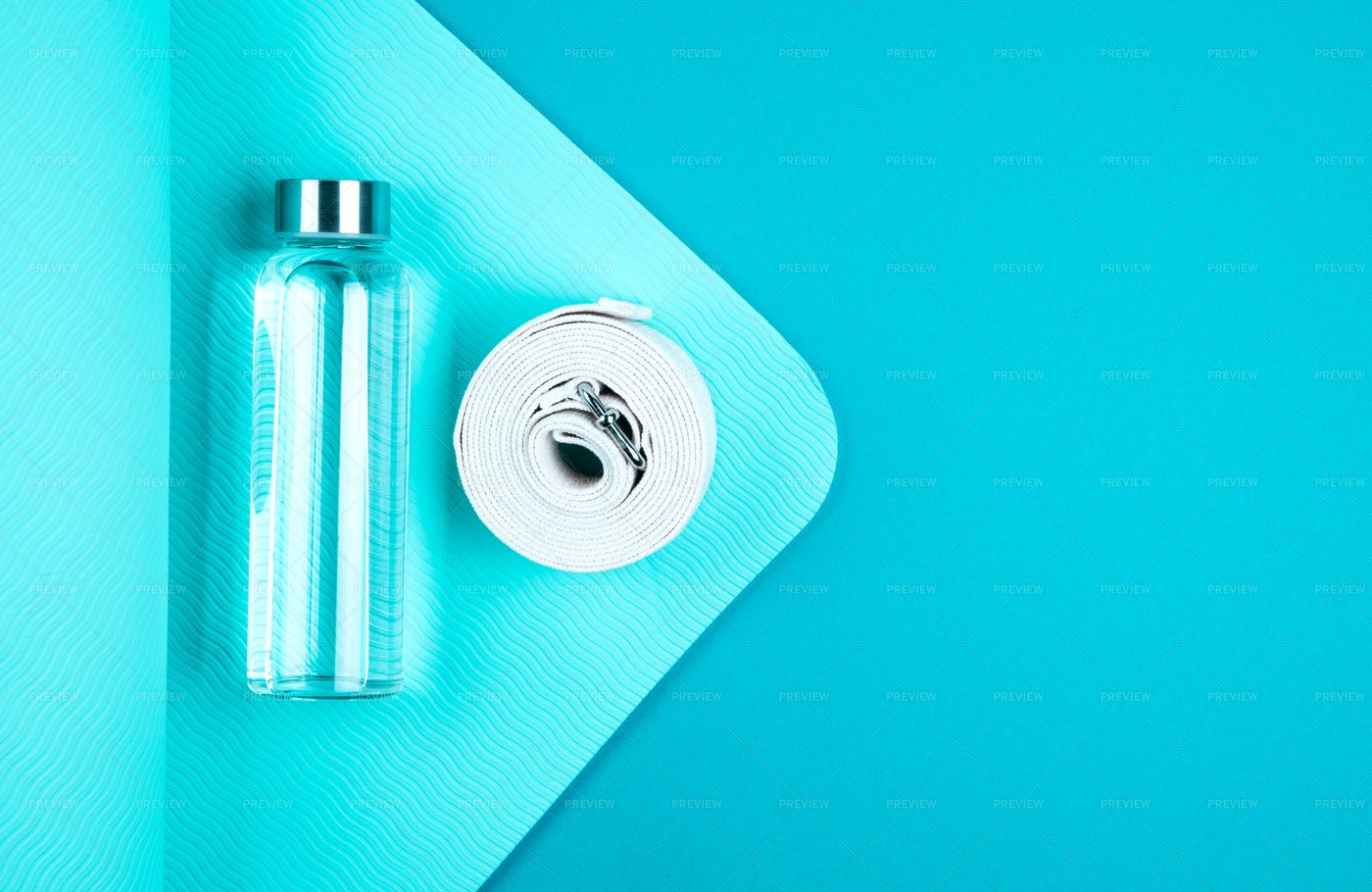 Mat, Water Bottle And Belt: Stock Photos