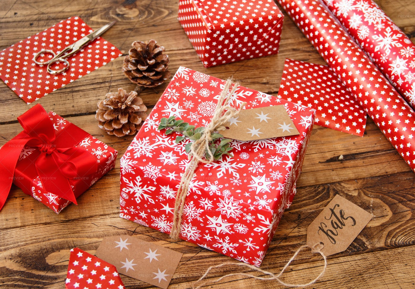 Wrapped Christmas Presents: Stock Photos