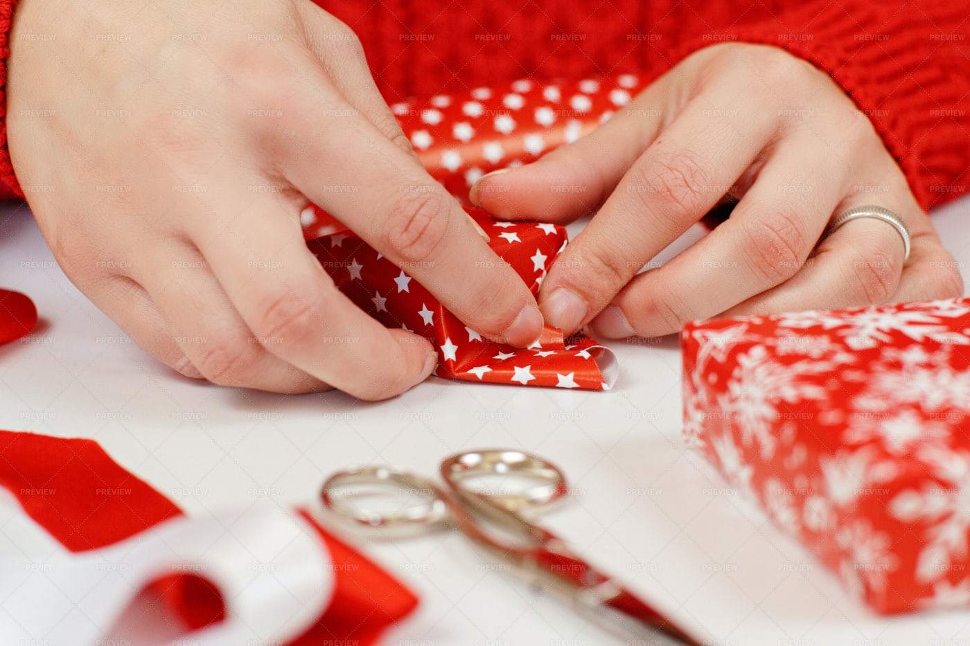 Wrapping A Present: Stock Photos