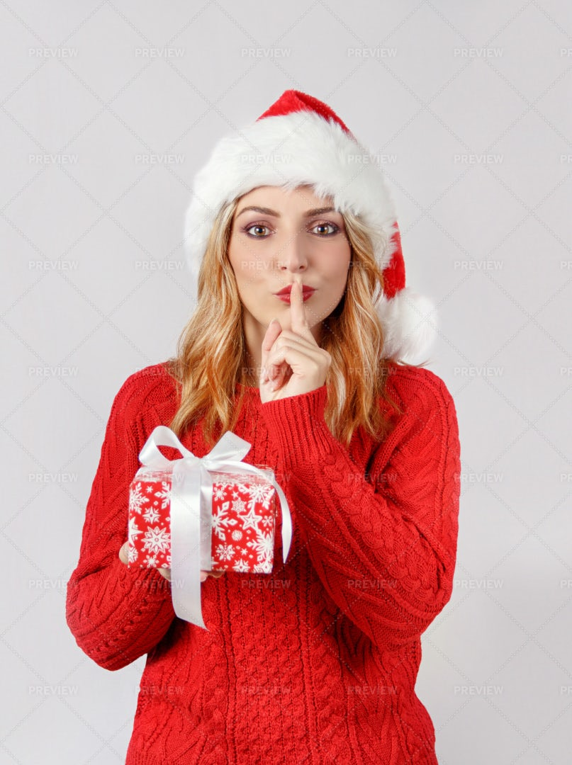 Woman With Present: Stock Photos