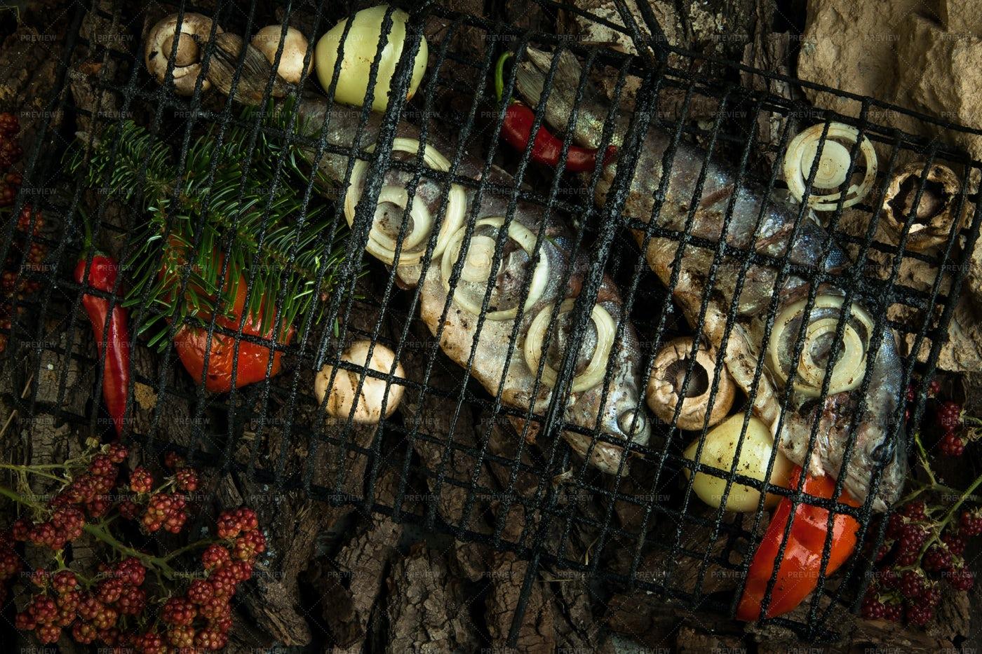 Smoked Fish And Veggies: Stock Photos
