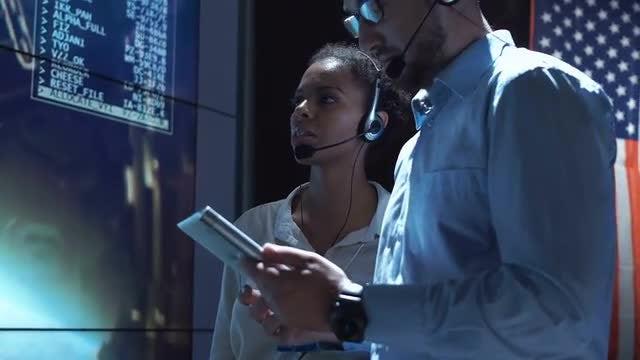 Workers Inside Moon Flight Center: Stock Video