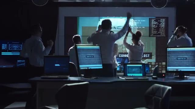 Flight Controllers Celebrating Successful Mission: Stock Video