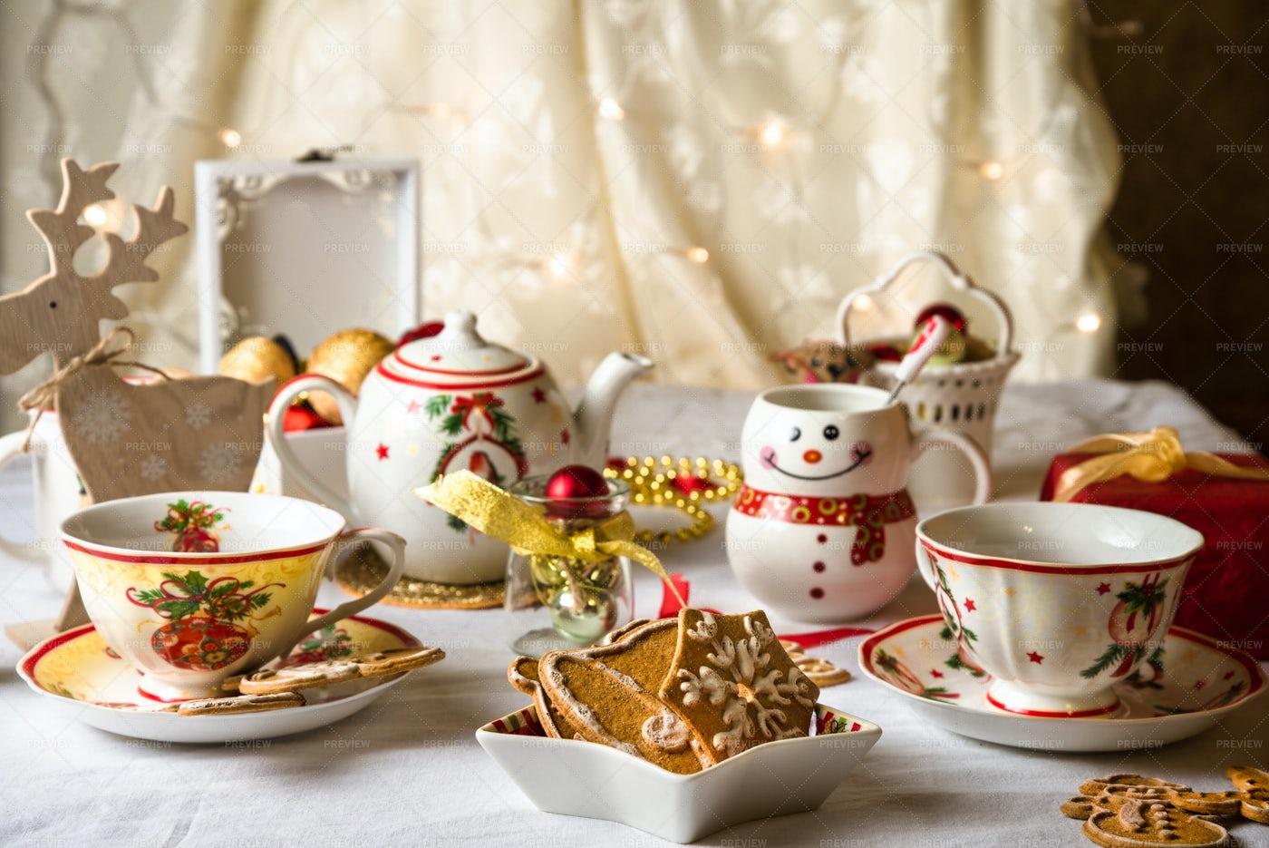 Christmas Tea Party: Stock Photos