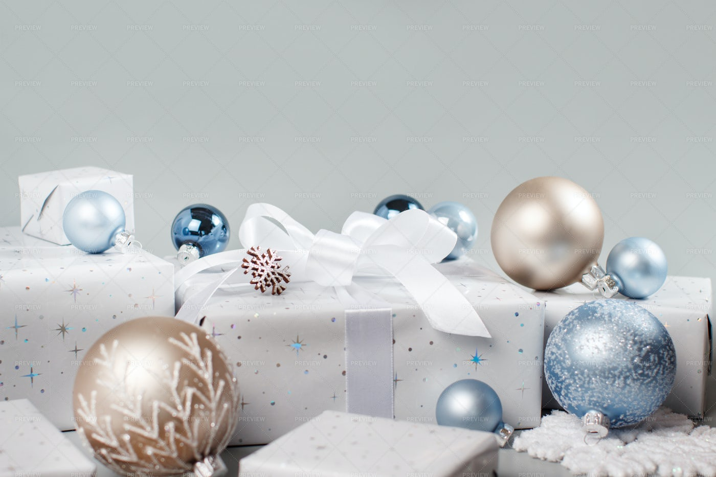 Christmas Composition On Grey: Stock Photos