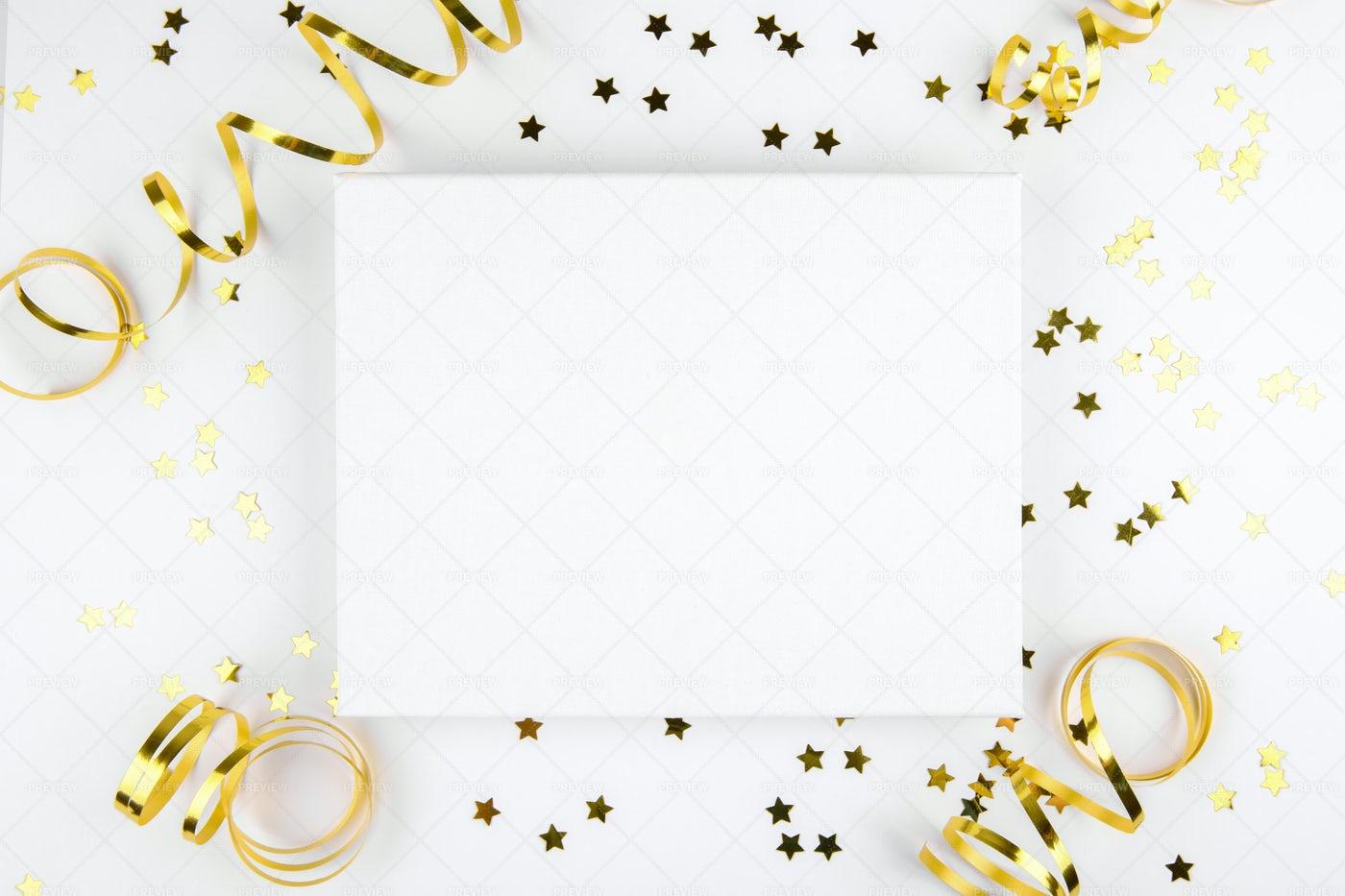 Christmas Canvas With Decoration: Stock Photos