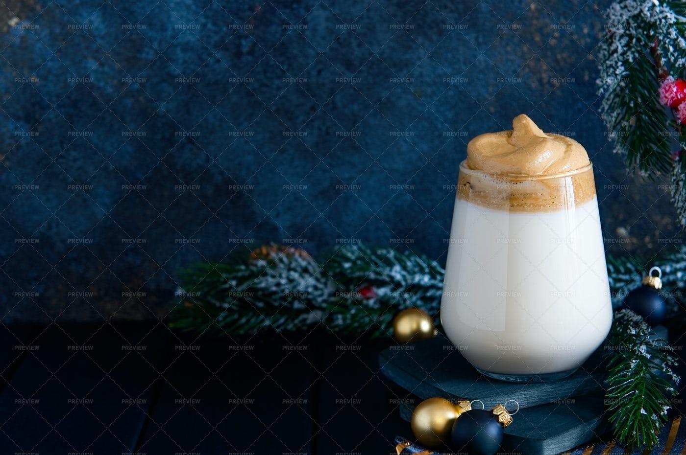 Christmas Dalgona Coffee Background: Stock Photos