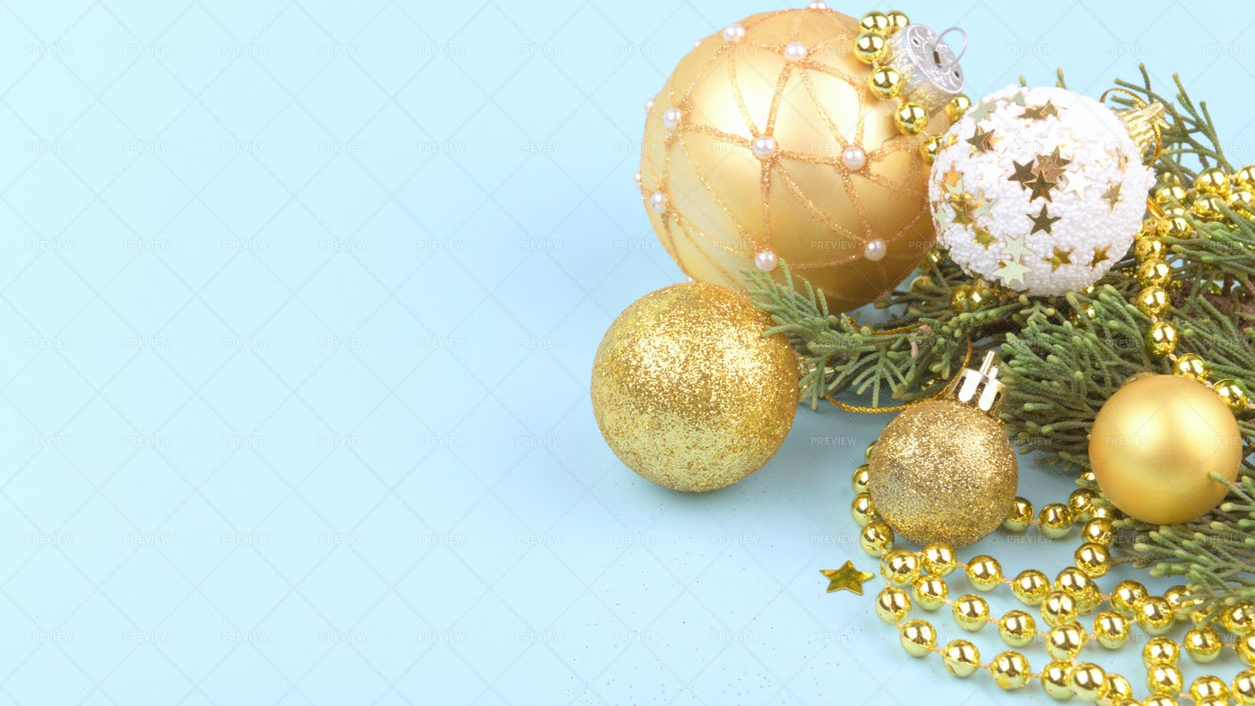 Golded Christmas Baubles: Stock Photos