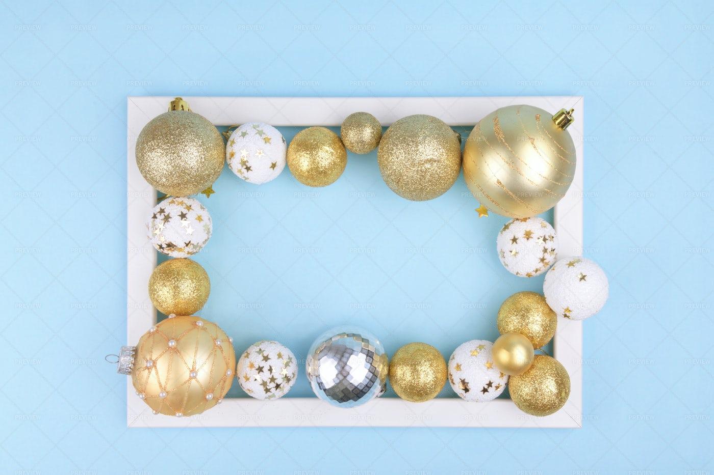 Gold And White Christmas Frame: Stock Photos