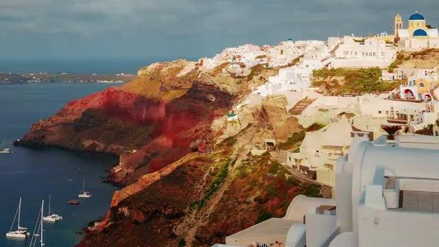 Greek Santorini Caldera Morning Time-Lapse: Stock Video