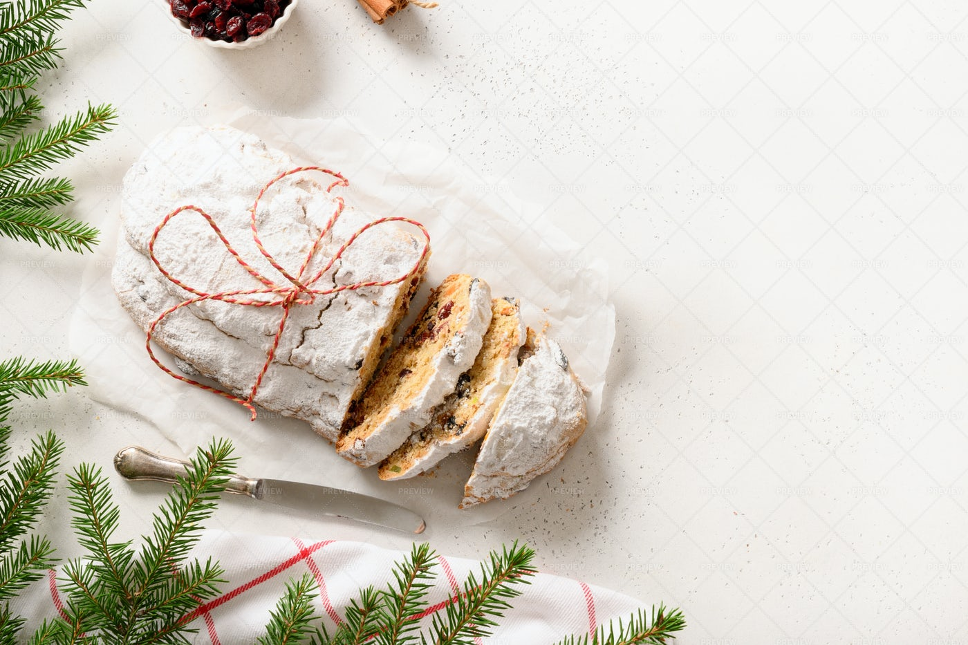 Christmas Cutted Stollen: Stock Photos