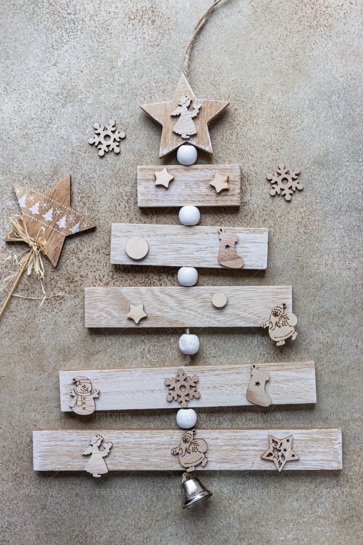 Rustic Wooden Christmas Tree: Stock Photos