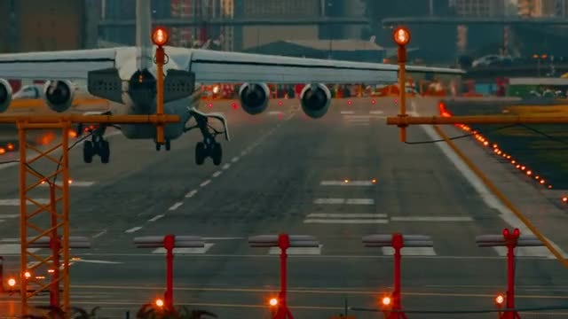 Airliner Landing At Busy Airport: Stock Video