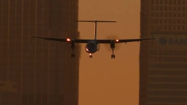 Executive Airliner Landing During Sunset: Stock Video