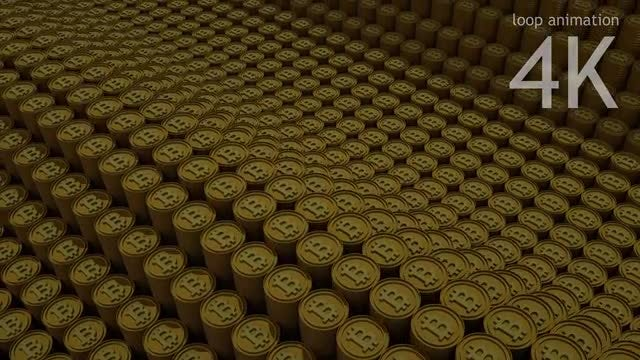 Gold Bitcoin Piles Loop Backround: Stock Motion Graphics